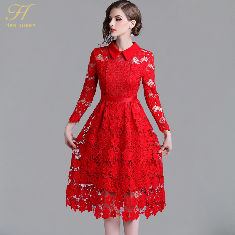 ... Sleeve Sexy Hollow Out Vintage Vestidos. H Han Queen 2018 Autumn Red Lace  Dress Work Casual Slim Work Women Party Dresses Long b7f36297d