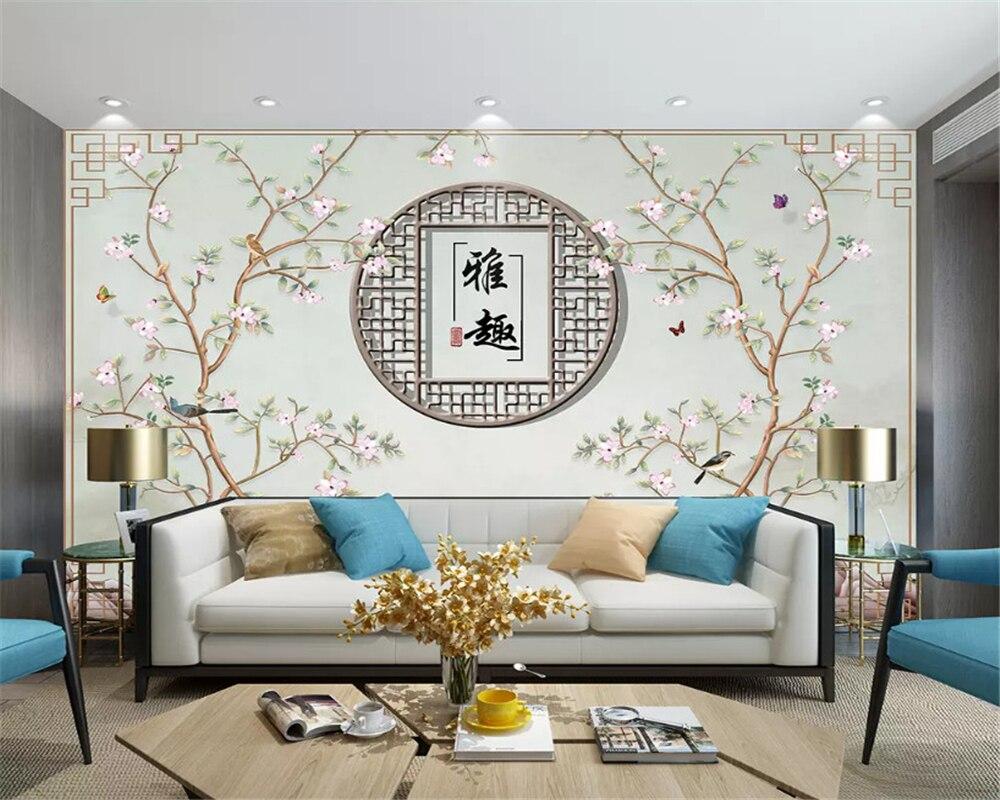Beibehang Papier Peint Pour Peinture Decoratif Papier Peint Personnalise A La Mode Nouveaux Coups D Oiseaux En Fleurs Chinoises Papiers Muraux Pour Decoration De Maison Aliexpress