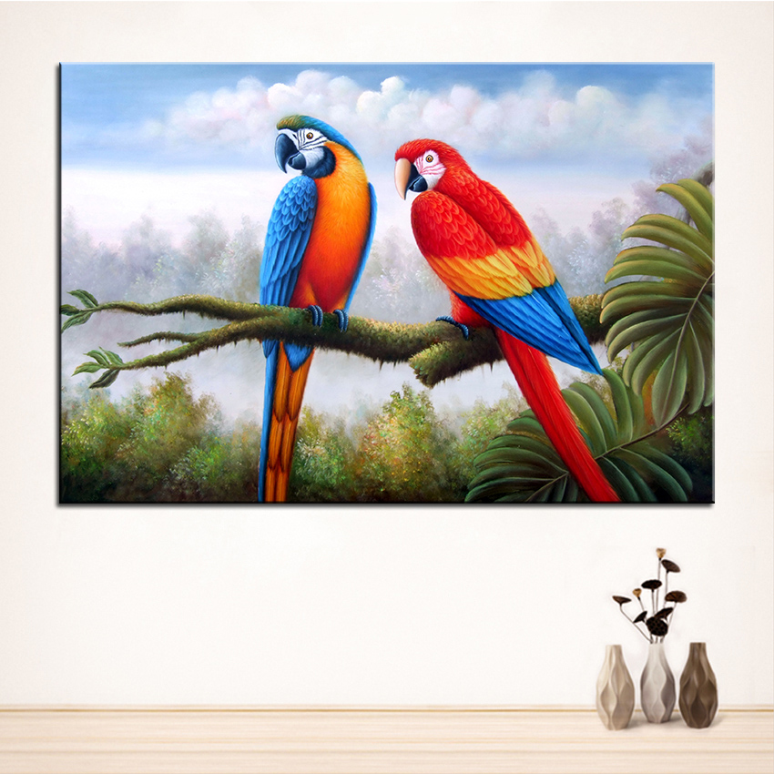 Wall Art, Wall Decor, Wall Painting Branches parrot ...