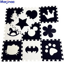 EVA Children's soft developing crawling rugs,baby play Block Batman/letter/Mickey foam mat Black White pad floor for baby games(China)