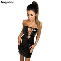 2018 Fashion PU Leather Women Party Dress Girl Summer Dresses Sleeveless Casual Sexy Boho Ladies Dress Elegant Beach Dress