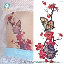QC653 20X10cm Long Colorful Tatuajes Temporales Tattoo Sleeves Body Art Plum Flower Temporary Flash Tatoos Sticker Tatuagem