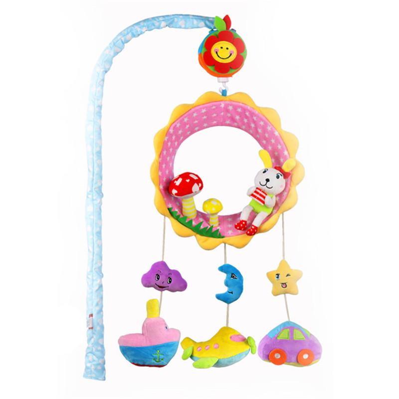 Baby Comfort Toy Crib Mobile Musical Cartoon Animal Pendant Rotating Rattles Bed Bell Toys