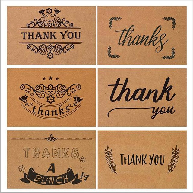 Hot 50Pcs/set Kraft Paper Cards Blank Wedding Thank You Card with