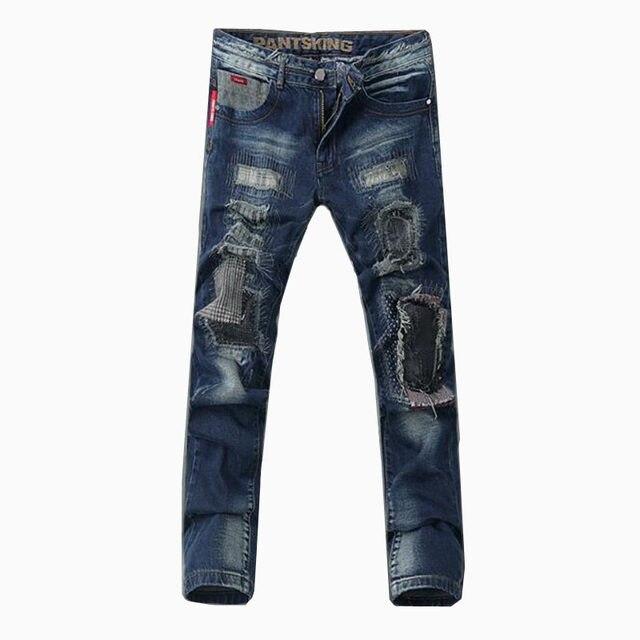 776c46daca239 2018 erkek butik delik sübvansiyonlar rahat kot/Erkek moda slim fit eğlence  pamuk ince bacak