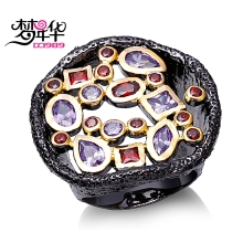 DC1989 Siam & Amethyst Cubic Zirconia Rings For Women New Black & Gold Contrast Plated Lead Free Hollow Design Vintage Jewelries(China)