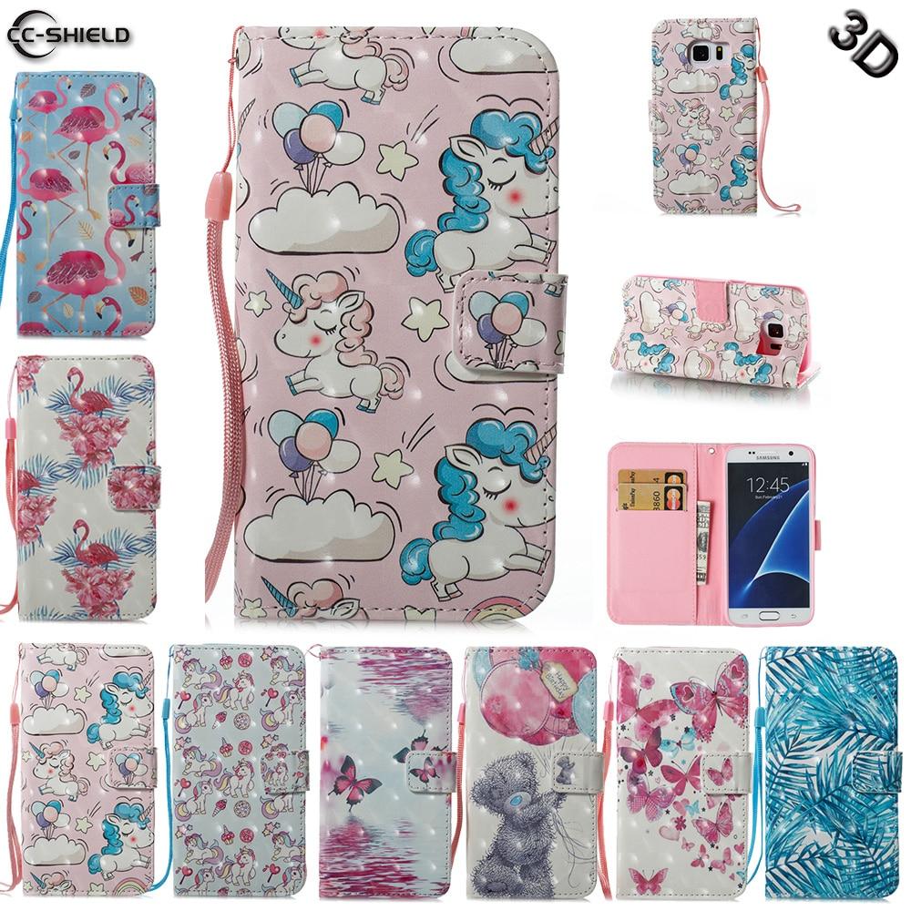 Case for Samsung Galaxy S7 S 7 7S G930F G930FD G930U SM-G930F SM-G930FD Flamingo Unicorn Flip Leather Wallet Cover Phone Case
