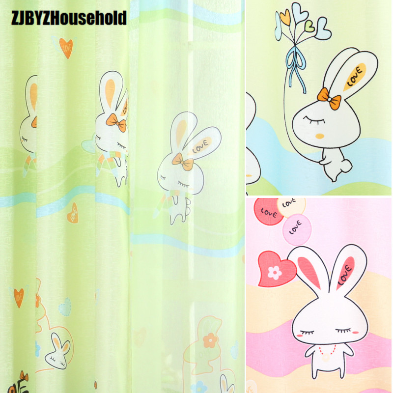 2017 New Curtains For Dining Living Bedroom Room Sweet Window Curtain Boys Girls Custom Rabbit Cute Cartoon Children