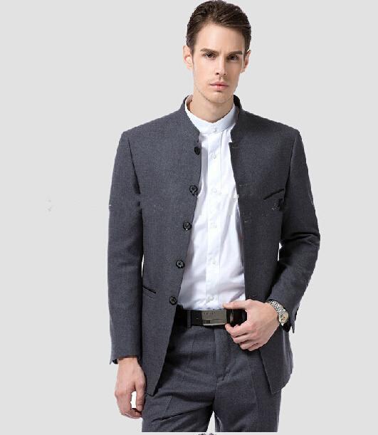 (JacketPantTie) new Arrival 2020 tańszy stanąć kołnierz szary formalne moda Terno Masculino wysokiej jakości garnitury męskie best man mężczyźni garnitur w Garnitury od Odzież męska na  Grupa 1