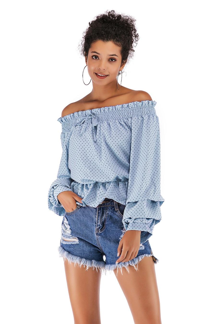 Gladiolus Chiffon Blouse Women 2019 Spring Autumn Long Sleeve Polka Dot Off Shoulder Sexy Blouses Women Shirts Ruffles Blusas (17)