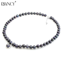 Vogue Pearl Pendant Necklace Natural 8-9MM freshwater Black Pearl Necklace Retro Choker Necklace for Women Classic Pearl Jewelry цены
