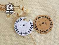 Y5-200 stücke 3,5 cm runde kraft/weiß papier label produkt label Label anpassung Kleidung label personalisierte tag geschenk tags