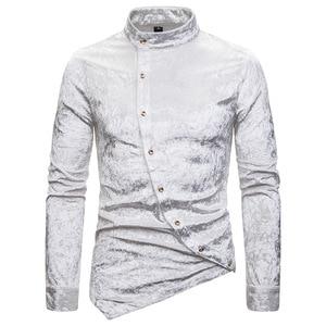 Image 2 - Fashion Shirts Men Dress Irregular Velvet Long Sleeve Chemise Homme Male Casual Solid Color Slim Fit Social Shirts Streetwear