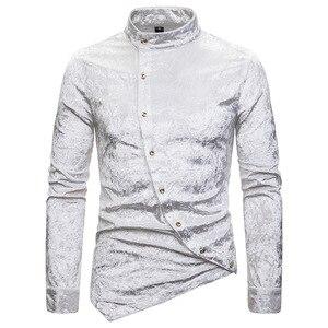 Image 2 - Modne koszule męskie sukienka nieregularna aksamitna koszulka z długim rękawem Homme męskie dorywczo jednokolorowe Slim Fit koszule na przyjęcia towarzyskie Streetwear