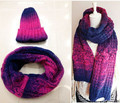 Winter knit scarf and hat set for women  tie-dyed winter ring scarf free shipping