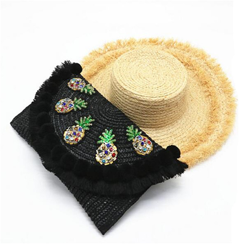 AEQEEN Bohemian Summer Straw Beach Bag Envelope Clutch Women Chain Pineapple Messenger Bag Black Handmade Woven Sequin Crossbody bohemian style shells forehead chain