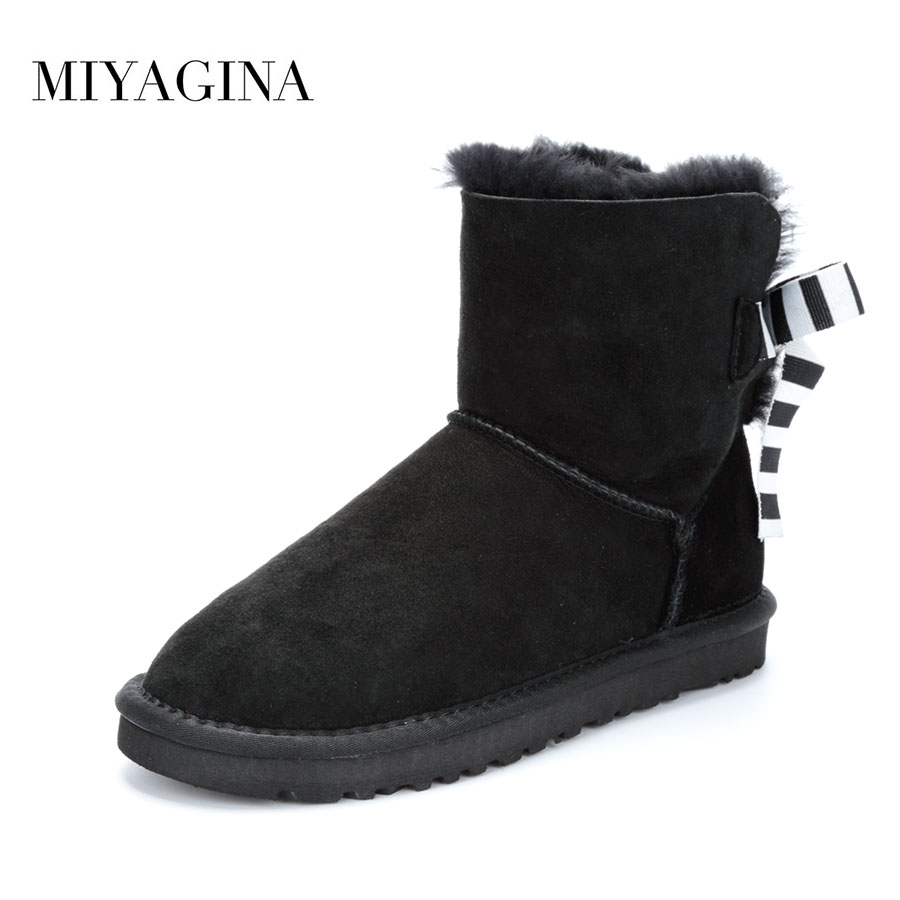 MIYAGINA Top Fashion New Genuine Sheepskin Leather Snow boots Natural Fur Mujer Botas Real Wool Winter Ankle Boots For Women club brand australia women boots sheepskin leather snow boots 100% natural fur snow boots warm wool winter boots botas mujer