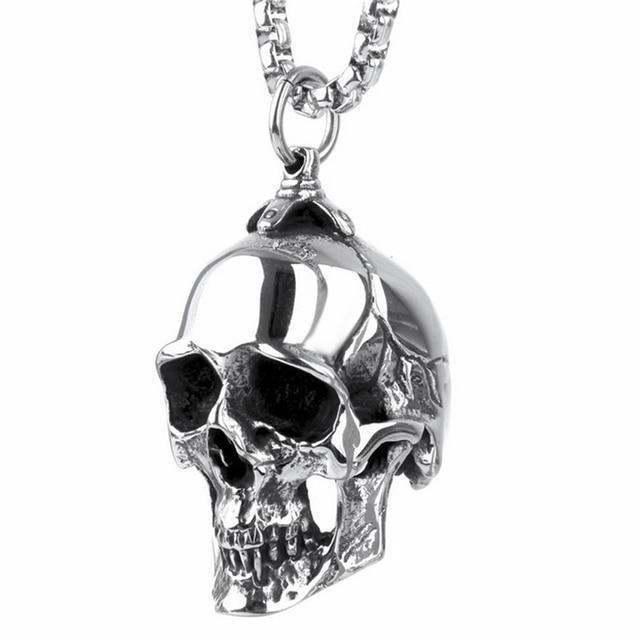 Mens boys silver big skull stainless steel pendant with necklace mens boys silver big skull stainless steel pendant with necklace chain length 51 76cm aloadofball Images