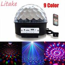 Litake Led RGB Ball Light Upgrade 9 Color Bluetooth Music with Music Crystal Magic Effect Ball Light DMX Disco Dj Stage Light