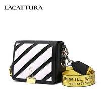 LACATTURA Women Messenger Bags Stripes Pattern Leather Handbag Lady Small Clutch Shoulder Bag Crossbody For Girls