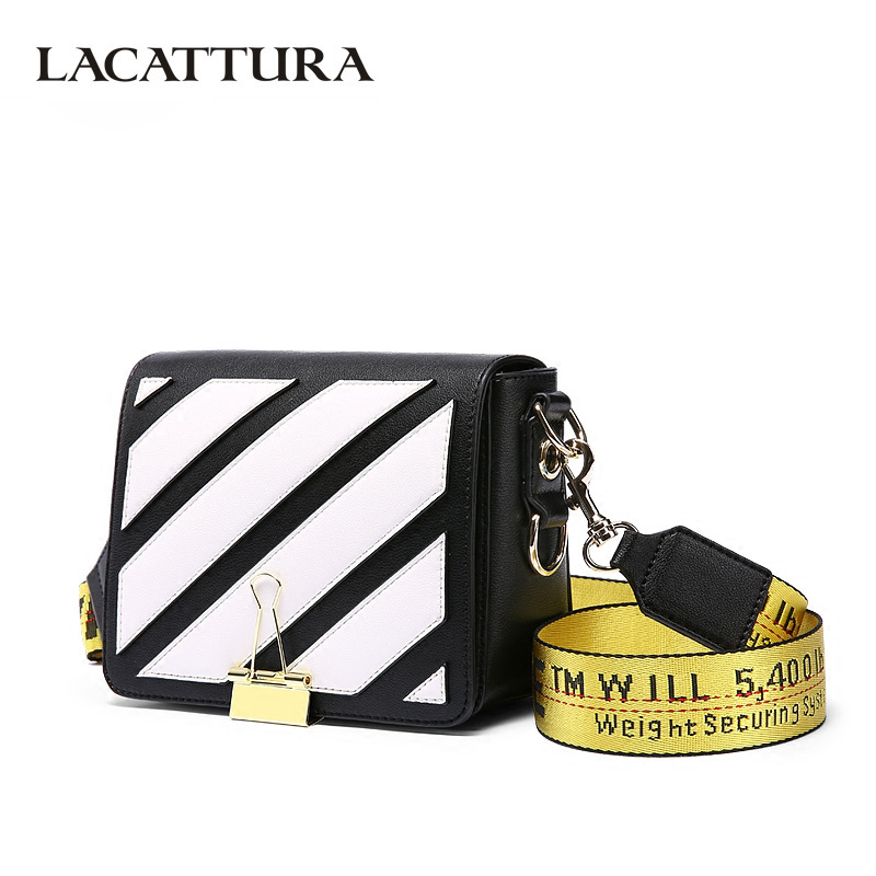 LACATTURA Women Messenger Bags Stripes Pattern Leather Handbag Lady Small Clutch Shoulder Bag Crossbody for Girls Long Tail Clip lacattura luxury handbag chain shoulder bags small clutch designer women leather crossbody bag girls messenger retro saddle bag