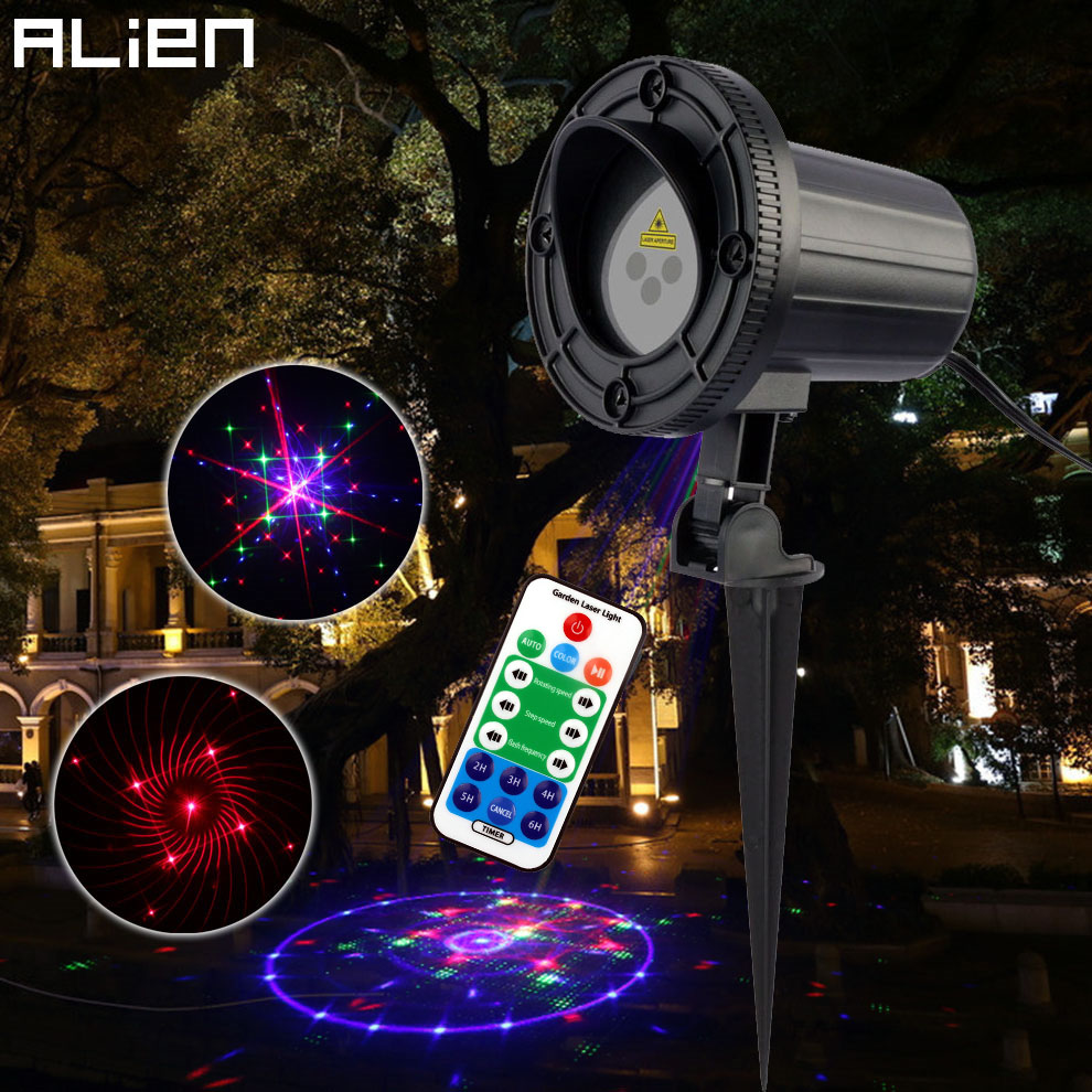 цены на ALIEN Remote 24 Patterns Red Green Blue Motion Static Laser Light Projector Garden Waterproof Christmas Holiday Effect Lighting в интернет-магазинах