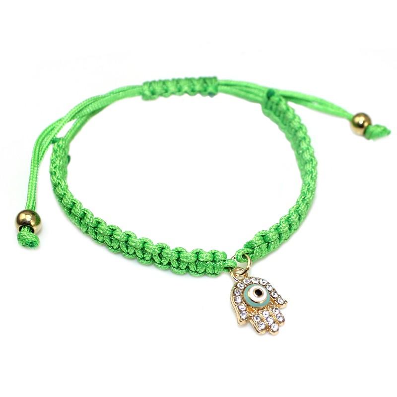 Handmade Braided Rope Bracelets Red Thread Turkish Jewelry Crystal Hamsa Hand Charm Bracelets Bring Lucky Peaceful Bracelets 25