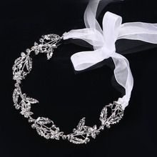 Lace Classic Rhinestone Crystals Soft Headband Hair Chains Head Chain Bride Wedding Hair Jewelry Accessories Fishoin SL