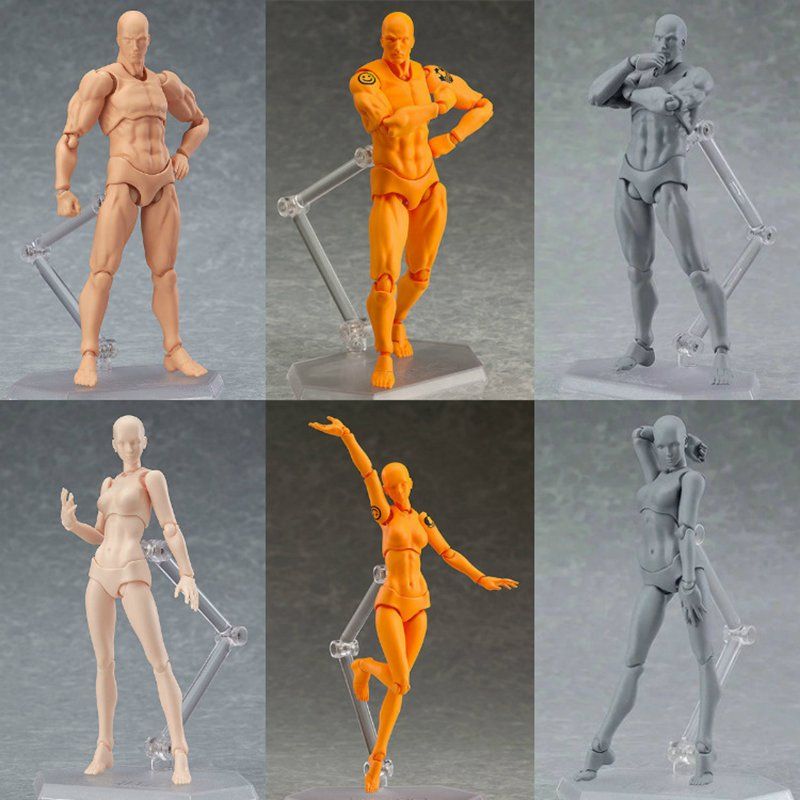 SHF Figma Man Female Skin Color Archetype He She Ferrite Figma Movable Figma pvc Action Figure Model Toys Doll for Collectible