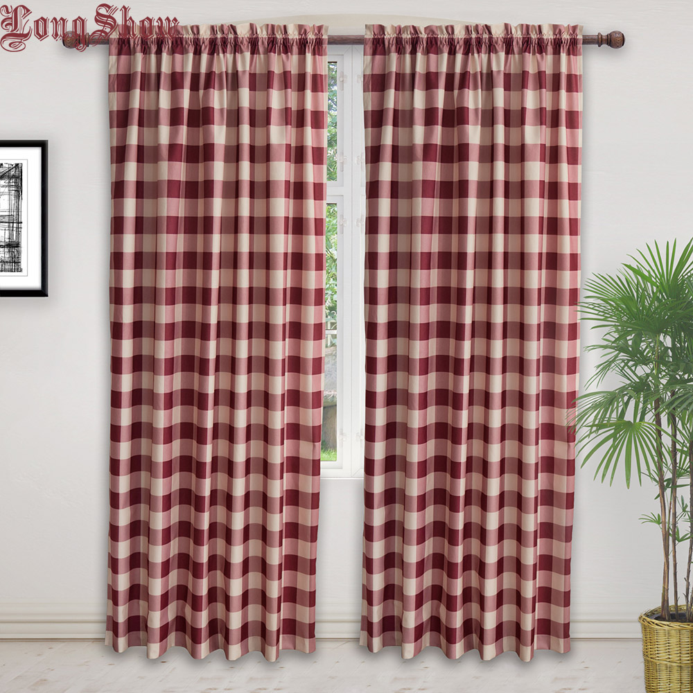 Modern Red Pink Black Navy Plaid Design Super Smooth Thick Plushed Geometric Printing Curtains for Living Room Bedroom