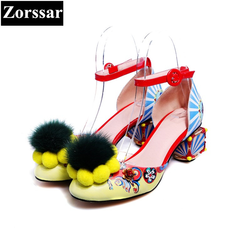 Summer shoes woman sandalias mujer zapatos sandale high heels wedding shoes 2017 Fashion fur Ethnic style womens pumps round toe cdts 35 45 46 summer zapatos mujer peep toe sandals 15cm thin high heels flowers crystal platform sexy woman shoes wedding pumps
