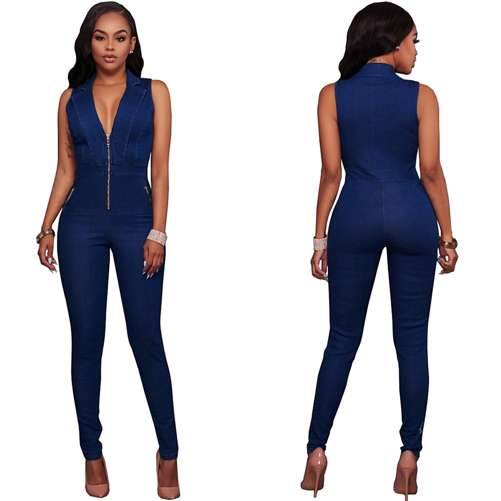 New Summer Women Slim Casual Jumpsuits Jeans Deep V Sleeveless Rompers Female Sexy Club Zipper Overalls Macacao Feminino 2019