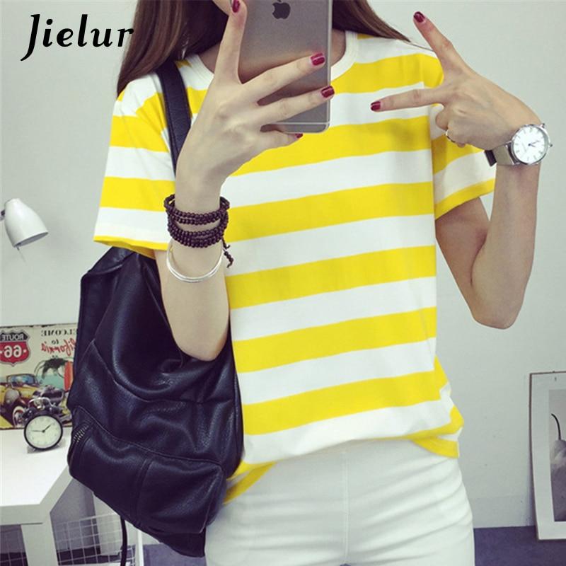 Jielur 2019 الكورية أزياء صيف جديد المرأة تي شيرت الحلو صغير الطازجة الأبيض الأصفر مخطط وبأكمام قصيرة القمصان النسائية S-XL