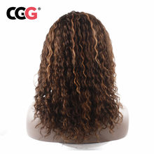 CGG Loose Deep None Lace Human Hair Wigs Peruvian Non-Remy Hair Free Part Mix Blonde Wigs Machine Made For Black Women 16 Inch(China)