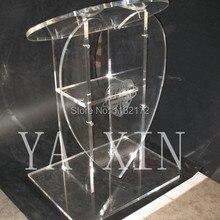 Горячая акриловая Форма сердца pulpit lectern Подиум