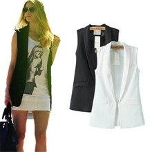 Colete элегантные feminino пиджаки карманный рукавов офис без дамы куртка повседневная