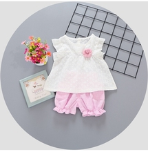 2017 Summer Baby Girl Sleeveless Flower Blouse Tops Shorts Infant 2Pcs Suits Kids Clothing Sets conjunto