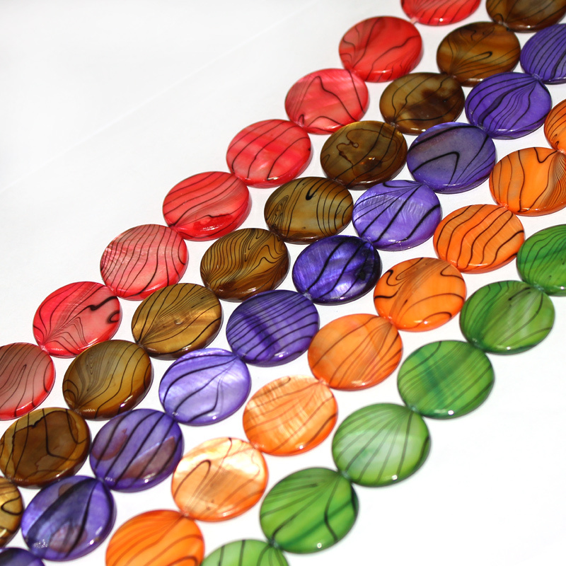 Free Shipping Select by Color 20mm Wholesale Lot Natural Coin Shell MOP Loose DIY Beads Strand 15 Jewellery Making