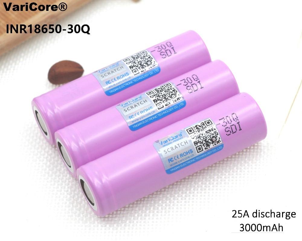 3PCS 100% Original new INR18650 30Q battery 3000mAh li-lon battery power Rechargeable batteries For Samsung E-Cigarette use