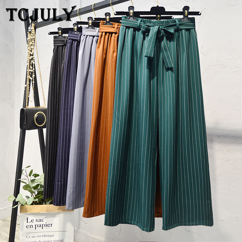 TCJULY Fall 2019 New Design   Wide     Leg     Pants   With Stripes Bow Sashes Elastic Waist Loose Women's Trousers Streetwear Palazzo   Pants