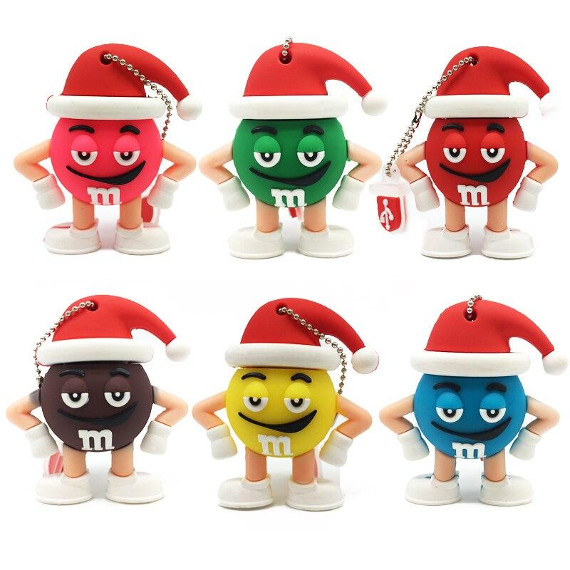Usb Flash Drive 64gb Personalise Usb Pendrive 32gb Pen Drive 16gb 8gb 4gb Usb Stick 128gb Cartoon Christmas M&m's Chocolate Bean