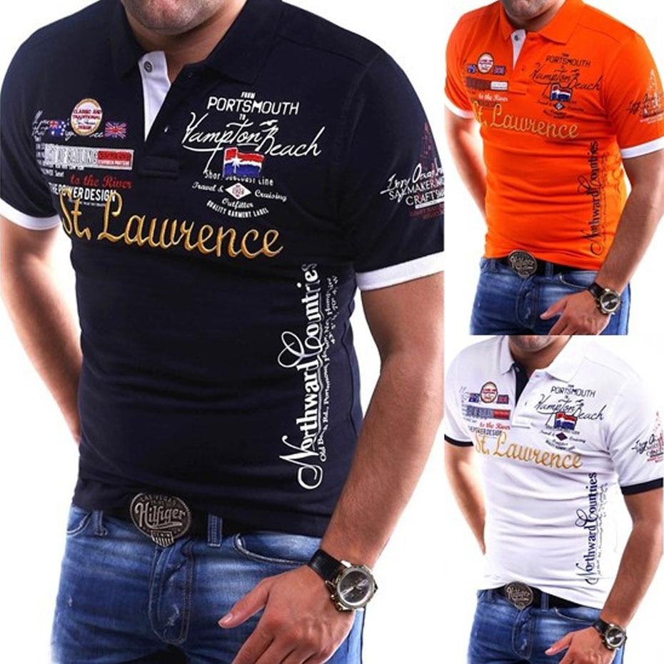 ZOGAA Mens   Polo   Shirts Short-sleeve New Fashion Slim Fit Short Sleeve Shirt Collar Printed Cotton Casual   Polo   Tops Men Clothing