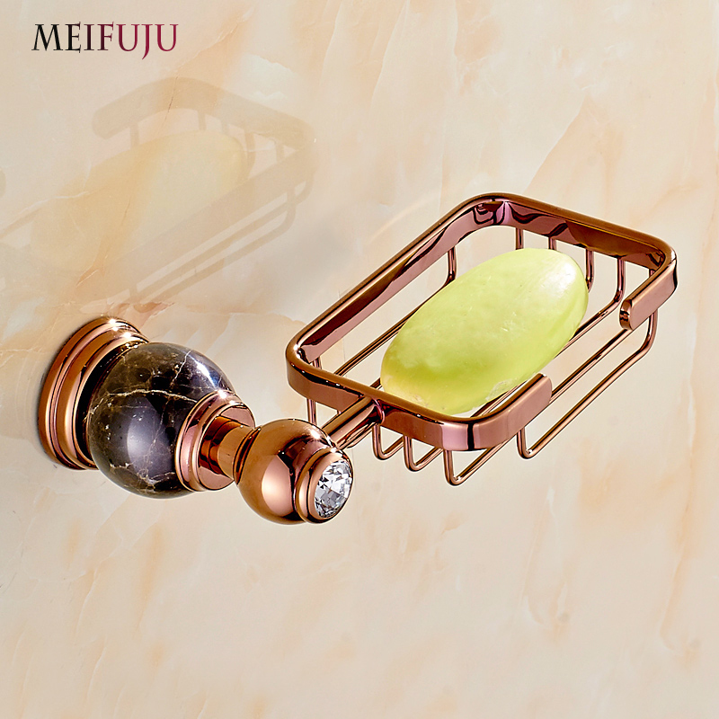 European Rose Gold Bathroom Accessories Marble Soap Dish Box Jade Soap Holder Basket Soap Case home decoration useful for bath
