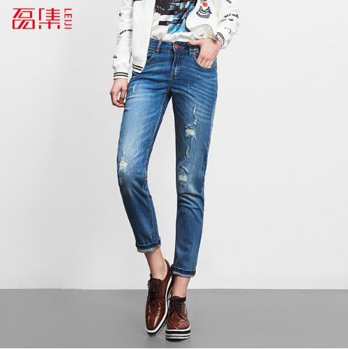 2017 Plus Size Jeans Mujer Mid Waist Autumn Femme Denim Jeans Women Medium Washed Loose Cotton Ripped Trousers 5XL 6XL 40-120KG ripped skinny jeans woman autumn fashion mid waist elasticity plus size denim trousers full length pants jeans femme
