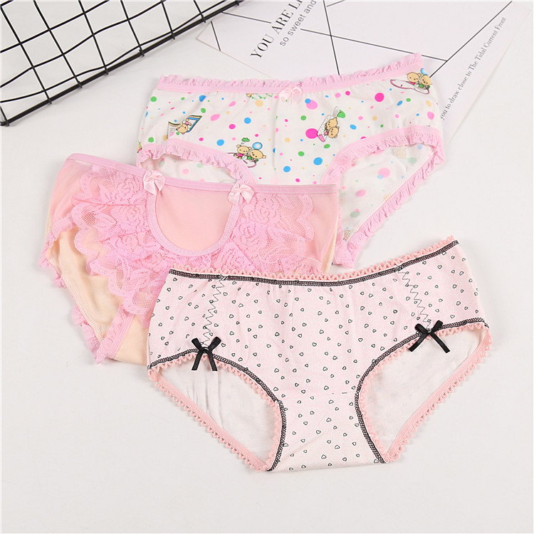 3Piece/lot Soft Cotton Young Girl Briefs Candy Colors Girls Panties For Teenage Kids Underwear Pants Underpants 9-20T