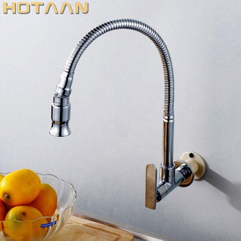 HOTAAN 1set 2018 New Wall Mounted Chrome Kitchen Sink Faucet Kitchen Tap Single Cold Water Tap Torneira Cozinha De Parede
