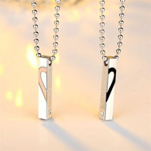 Stainless Steel Love Couple Necklace Love in Believe Heart Shaped Pendants Necklace with 60cm Chain 2PCS