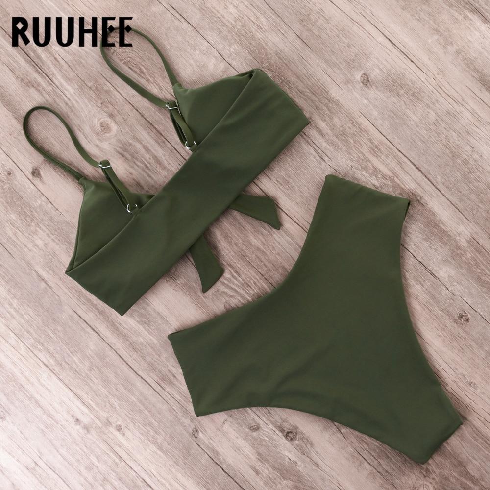 HTB1dESPL3HqK1RjSZFgq6y7JXXa8 RUUHEE Bikini Swimwear Women Swimsuit 2019 High Waist Bikini Set Push Up Front Knot Bathing Suit Women Summer Beach wear Biquini