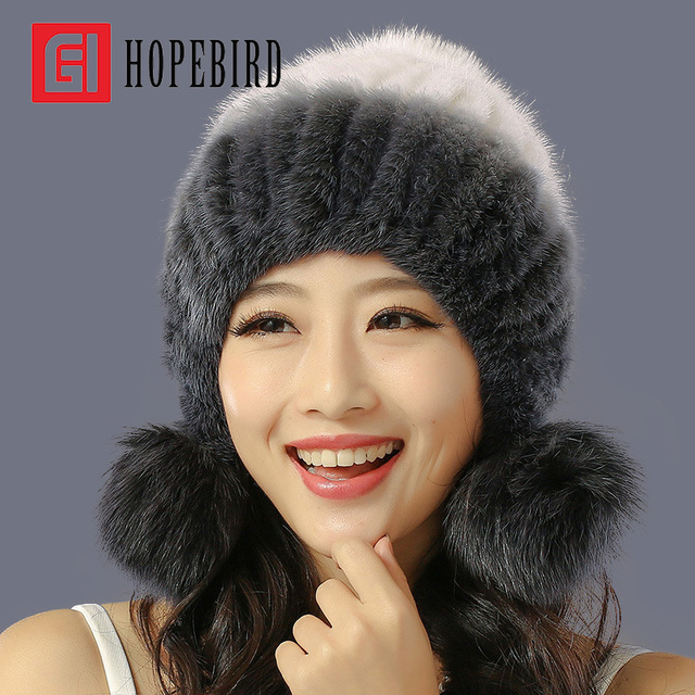 New Mink Fur Pom Poms Hat Winter Women Earflaps Knitted Cap Thicken Warm Manual Weave The Whole Skin Hair Bulb Leather Beanies