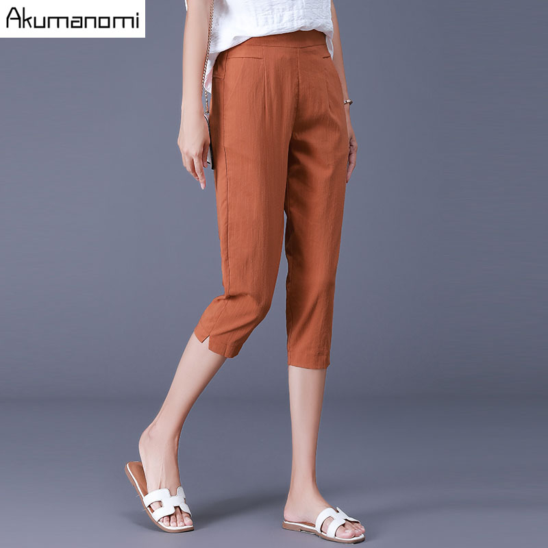 Plus Size Female Elastic   Pants     Capris   4XL Casual Pocket Women Crops Super Stretch Summer Calf-length Pencil   Pants   Free Shipping
